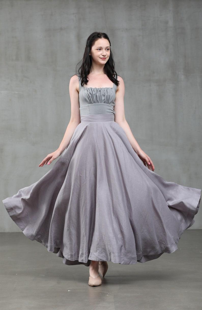linen skirt tulle skirt bridesmaid skirt circle skirt,silk skirt  Linennaive maxi skirt prom skirt silver gray skirt party skirt