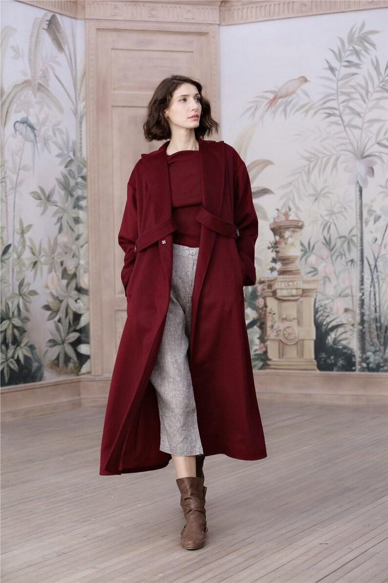 695a9e18480 Boundary wool coat long wool coat 100% cashmere coat women