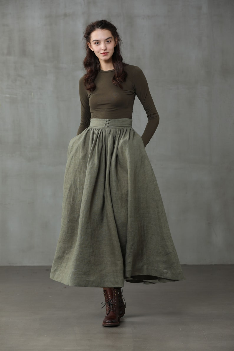 1920s Skirt History girdle linen skirt in moss green linen skirt maxi skirt a line skirt retro skirt winter skirt flared skirt 1950 skirt $99.00 AT vintagedancer.com