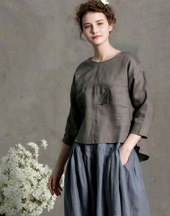 b96698bfcaa grey linen blouse tunic top three quarter sleeve shirt linen