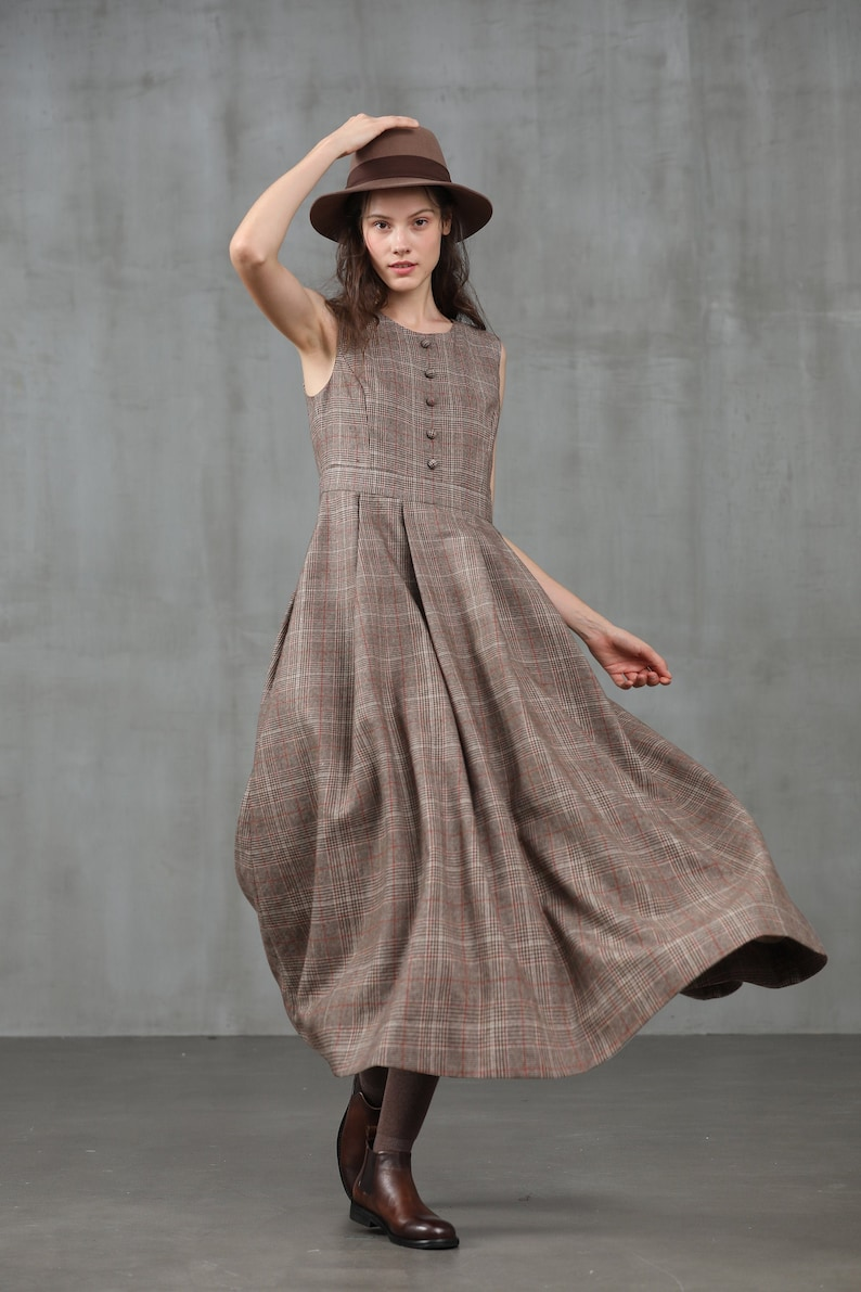 Cottagecore Clothing, Soft Aesthetic check wool dress wool winter dress vintage plaid dress retro wool dress wool clothes sleeveless wool dress | Linennaive $129.00 AT vintagedancer.com