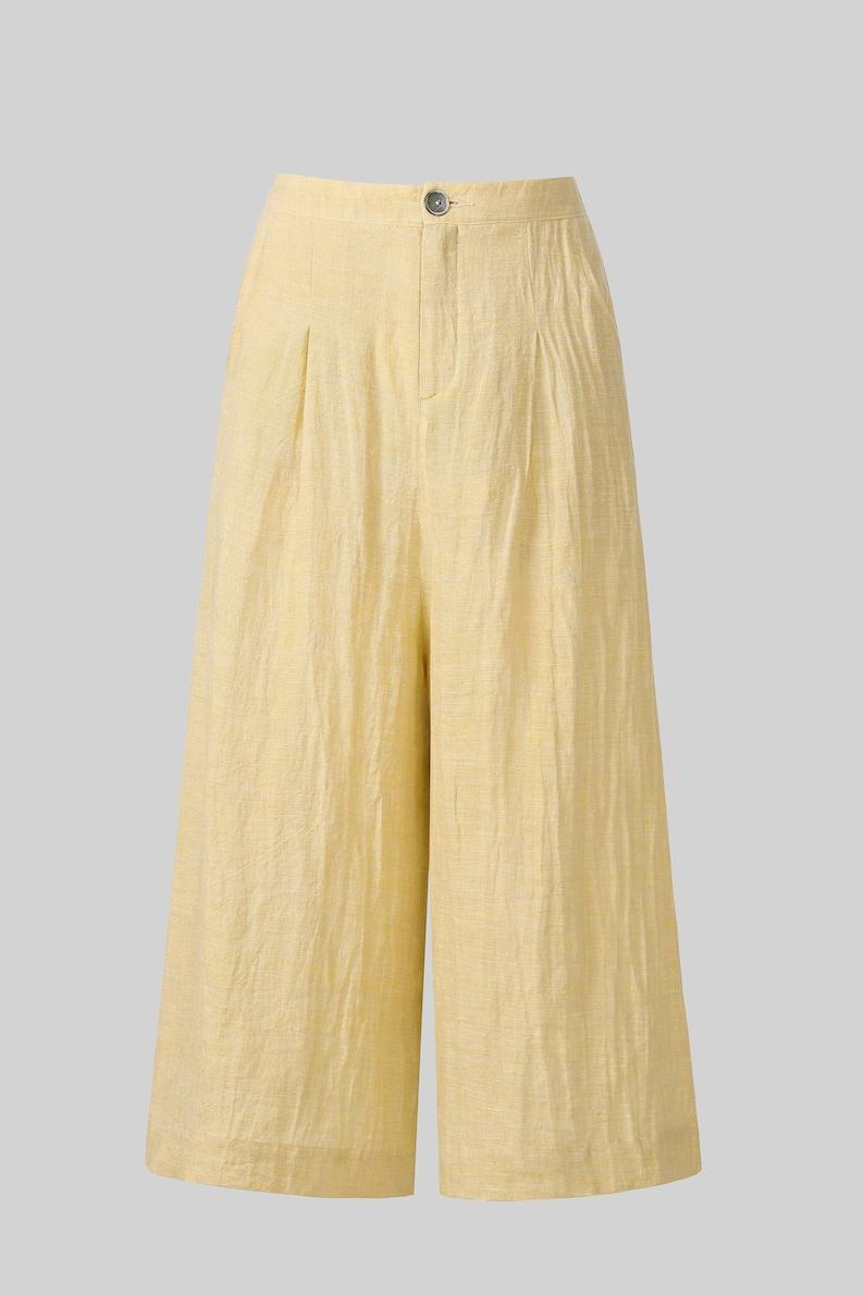 1940s Swing Pants & Sailor Trousers- Wide Leg, High Waist     Linen wide leg pants LYON MAXI pants Linen culottes skirt pants yellow pants linen trousers linen jumpsuit | Linennaive $89.00 AT vintagedancer.com