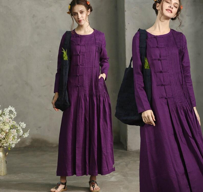 Purple Sangria Maxi Dress Pleated Handmade Dress Maxi Linen  7f81de357