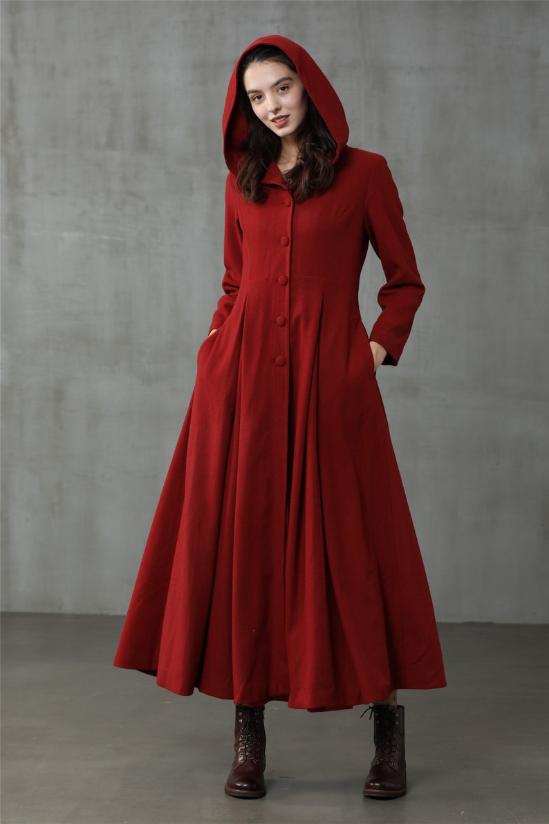 1950s Coats and Jackets History     retro hooded wool coat maxi red coat cashmere wool coat vintage coat winter coat fit and flare coat | Linennaive $249.00 AT vintagedancer.com