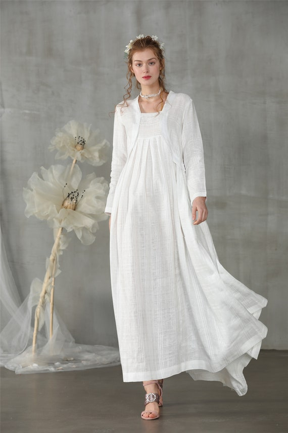 linen dress, white dress, maxi dress, layered wedding dress, wedding dress,  white linen dress, plus size, boho dress | Linennaive