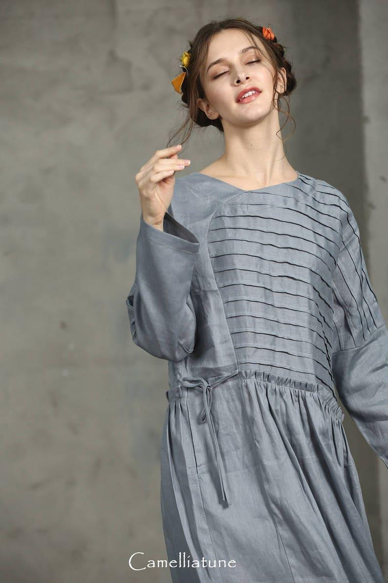 Drawstring Wasit Dress Maxi Linen Dress oNLY \u3010S M L left\u3011Gray linen dress Oversize Grey Linen Dress Maxi Smoky Gray Dress