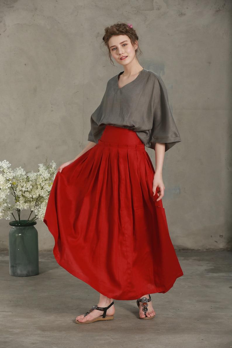 8adb79804724 Linen skirt red maxi skirt pleated skirt wedding skirt | Etsy