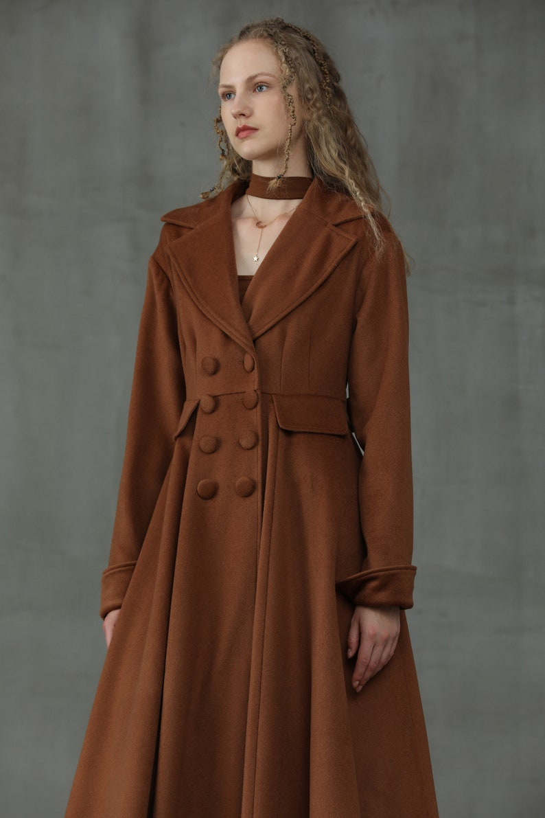 70s Jackets, Furs, Vests, Ponchos     maxi wool coat jacket in chocolate  Double Breasted Wool Coat Flared Wool Maxi Coat 100% wool winter coat cashmere coat | Linennaive $269.00 AT vintagedancer.com