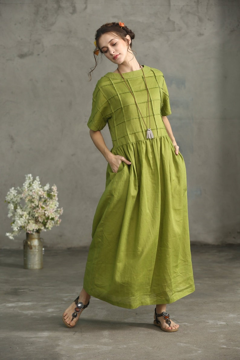 858e66406c Olive Green Linen Dress Oversize Linen Dress Loose Fitting
