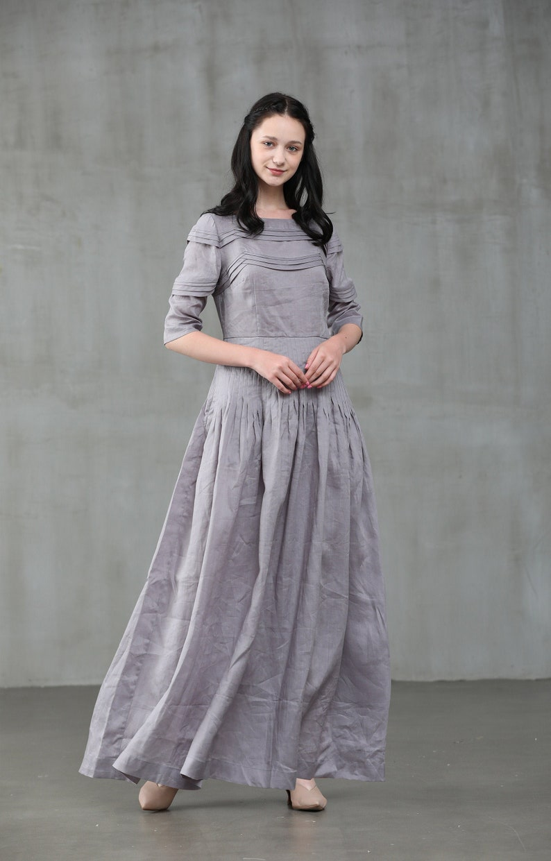 Old Fashioned Dresses | Old Dress Styles linen dress smoky gray dress maxi dress wedding dress bridal dress maxi linen dress pintuck dress maxi formal dress | Linennaive $159.00 AT vintagedancer.com
