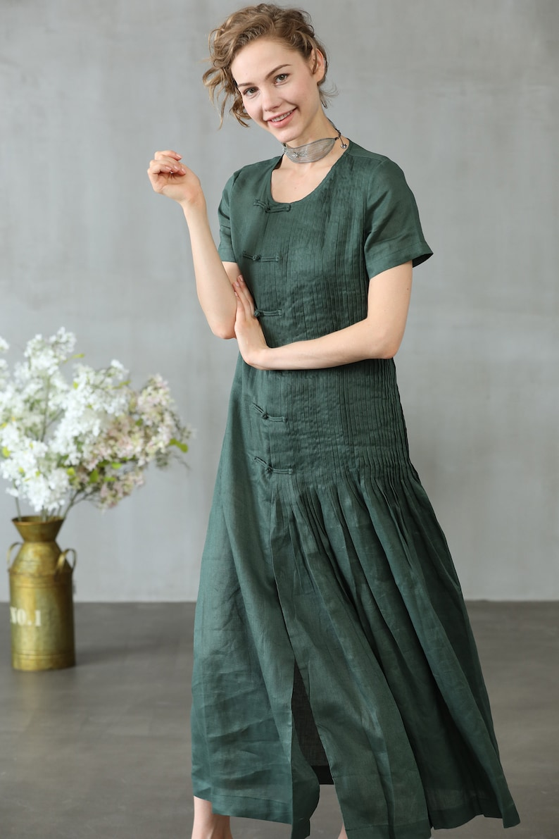 e90e10676c7 Linen dress in green maxi dress cocktail dress evening