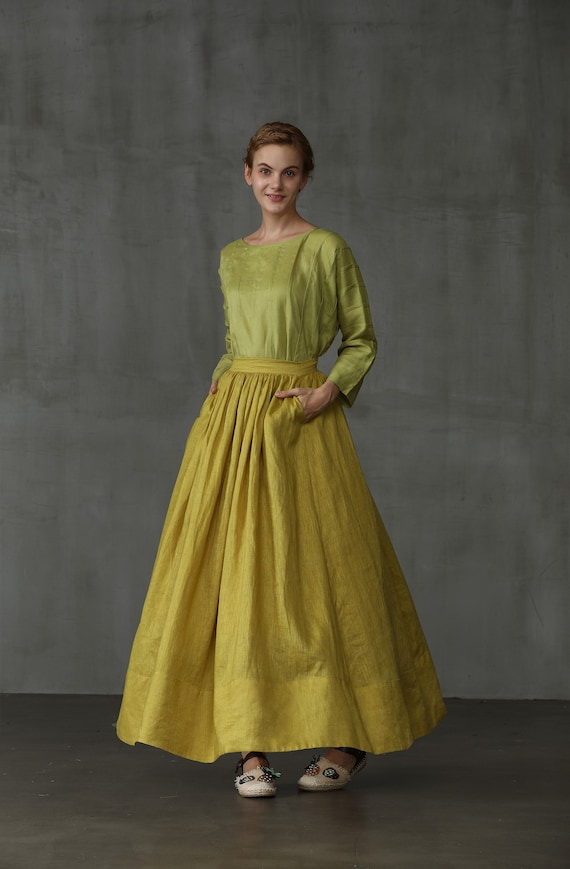 skirt, maxi skirt, linen skirt, skirt in lemon yellow, pocket skirt, full skirt, long linen skirt, wedding skirt, party skirt   Linennaive