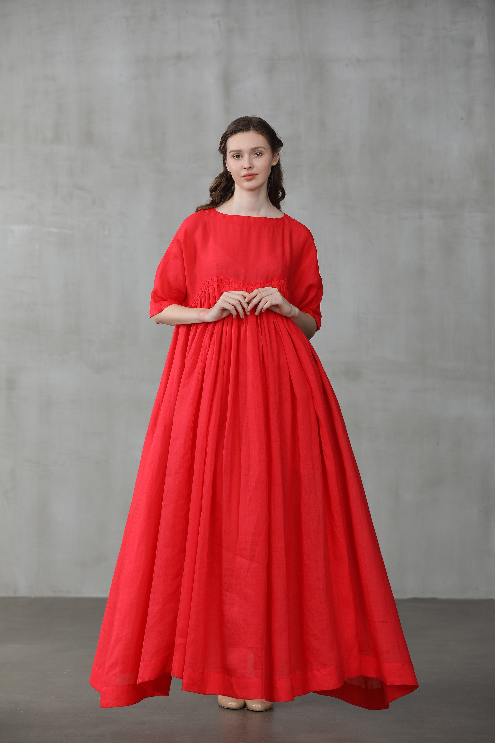 Linen Dress Red Dress Maxi Dress Maxi Linen Dress Ruffle Dress Princess Dress Oversized Dress Wedding Dress Linennaive