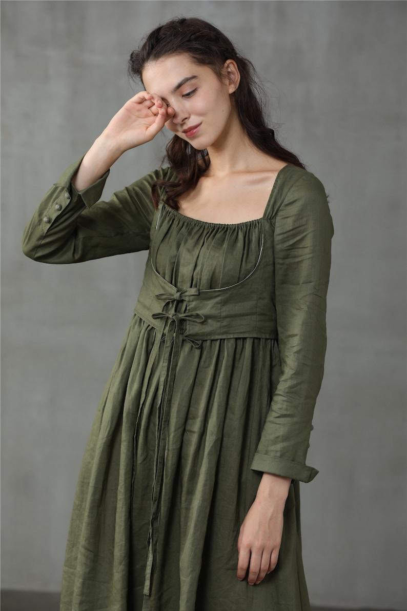 Cottagecore Clothing, Soft Aesthetic linen dress in moss green maxi dress corset linen dress winter dress layered dress | Linennaive $169.00 AT vintagedancer.com
