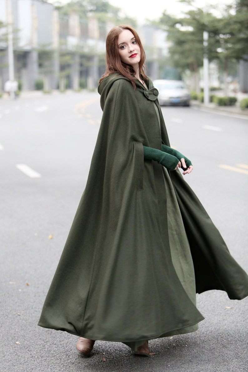 Cottagecore Clothing, Soft Aesthetic Maxi Hooded Wool Coat Cloak 100% Cashmere Maxi Cashmere Cape Hooded Cape Wool Hooded Cloak In GreenBlack Grey | Linennaive $209.00 AT vintagedancer.com