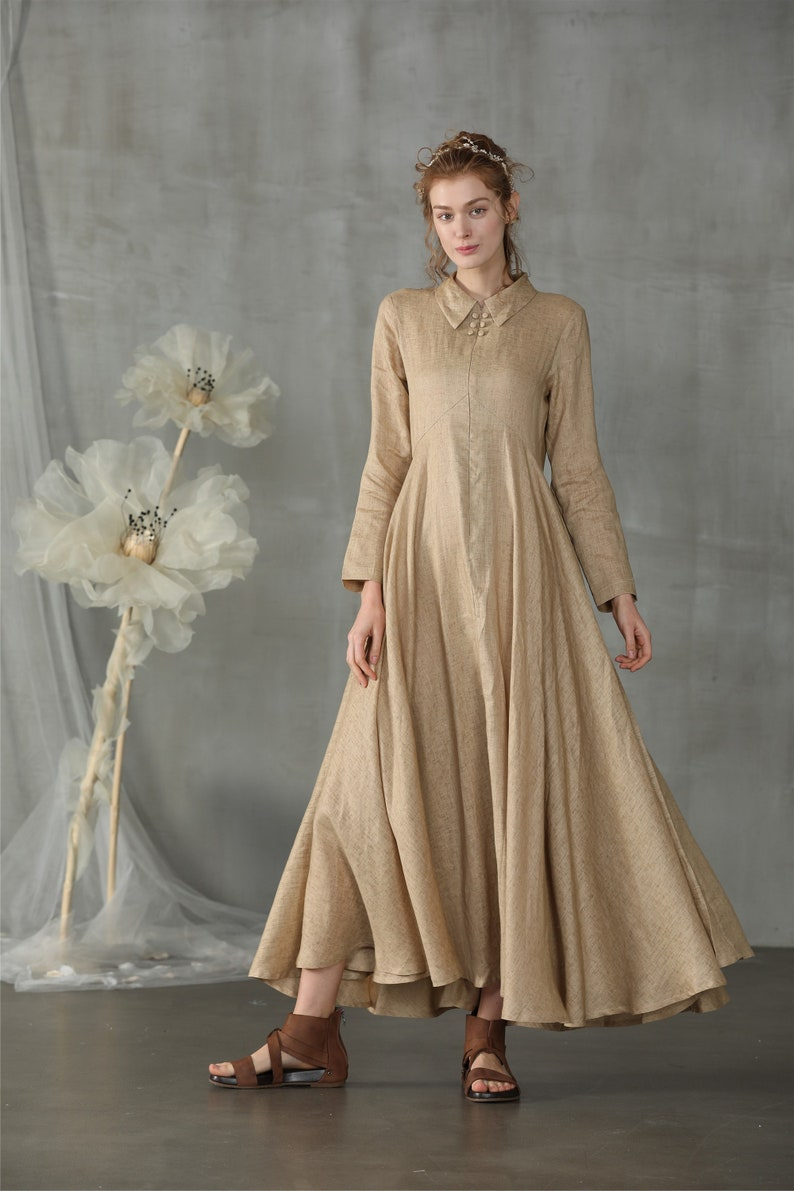 Cottagecore Clothing, Soft Aesthetic shirt dress linen dress maxi dress macaroon dress fit and flared dress wedding dress cocktail dress button down dress| Linennaive $128.00 AT vintagedancer.com