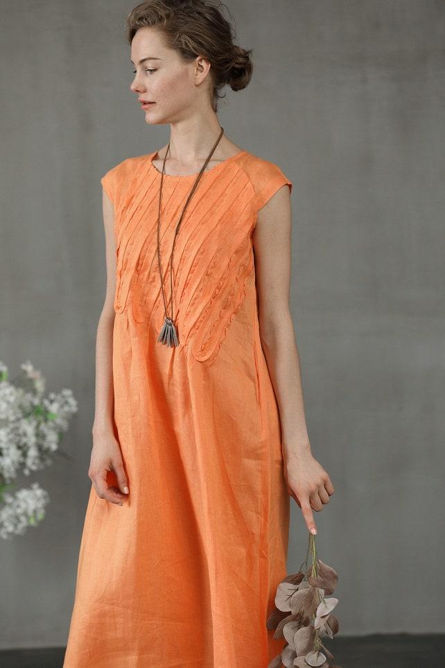 Ruffle Linen Dress In Orange And Black Linen Sundress Linen