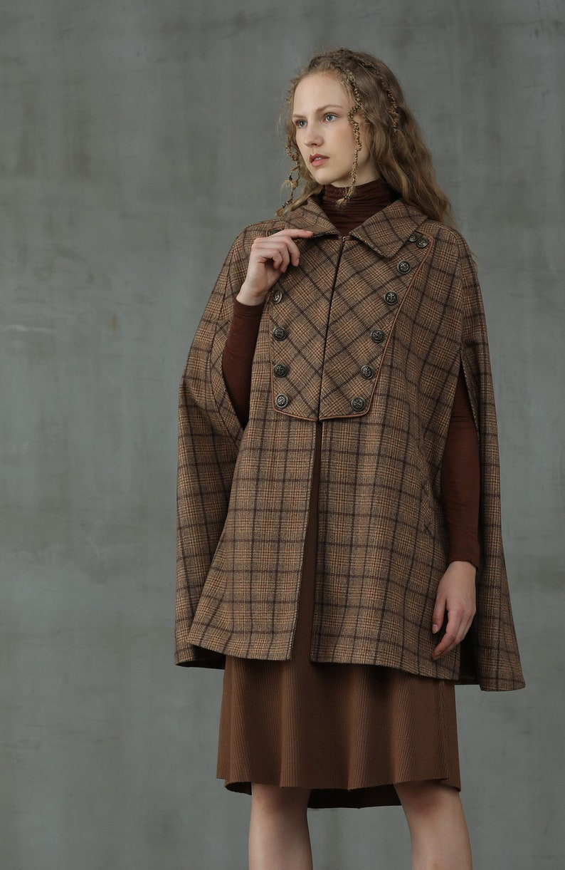 1940s Coats & Jackets Fashion History     tartan wool coat with pockets  midi wool cape check wool cape double breasted cloak long wool coat pink coat | Linennaive $229.00 AT vintagedancer.com