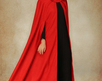 Red Wool Cloak Coat, Hooded Coat Jacket, Maxi Coat, Wool Coat, Wool Jacket, Wool Hooded Cloak Cape. Winter Warm Coat