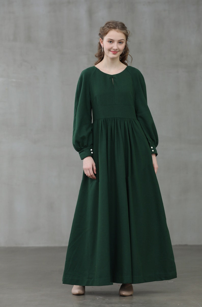 Cottagecore Dresses Aesthetic, Granny, Vintage puff sleeve wool dress emerald wool dress maxi wool dress green winter dress cocktail dress longsleeve dress evening dress| Linennaive $139.00 AT vintagedancer.com