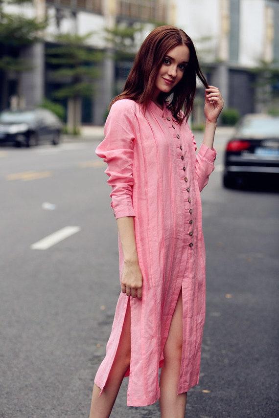 ec637cc97ae linen dress dress pink dress shirt dress down collar