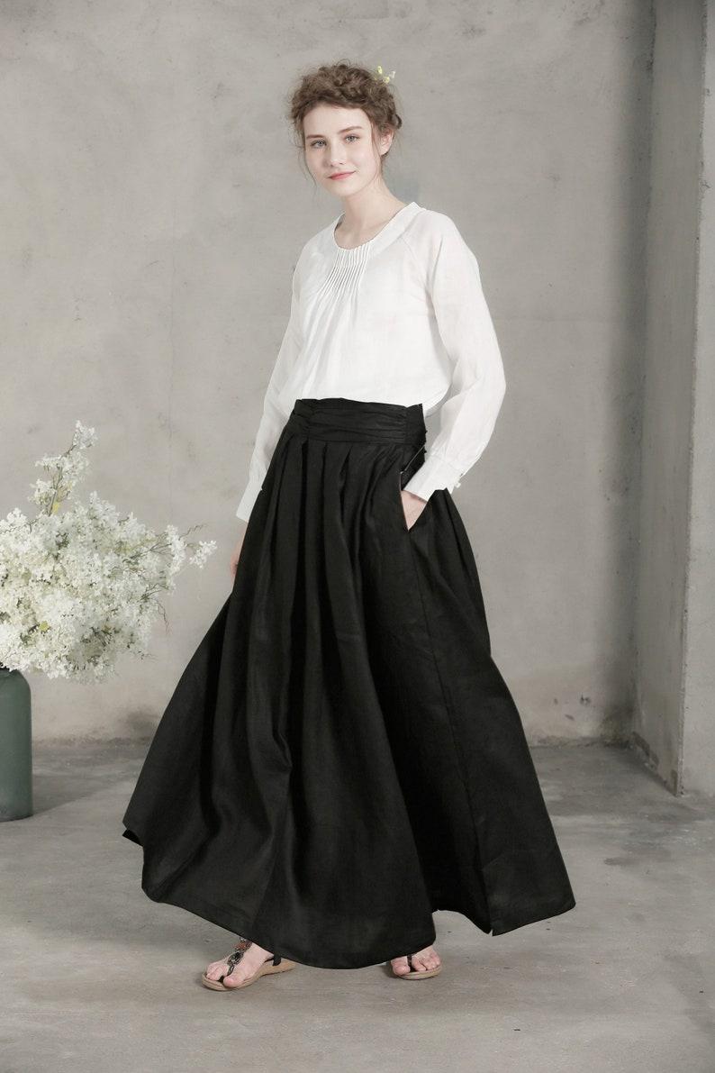 55b1782c74 Black skirt linen skirt maxi skirt Retro maxi skirt Long | Etsy