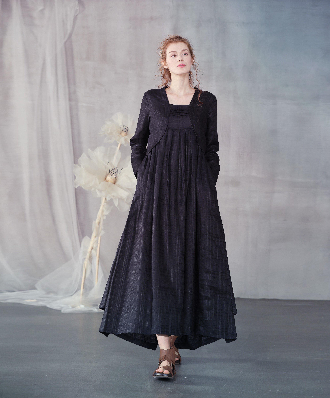 linen dress, black linen dress, tiered dress with jacket, long sleeve  dress, plus size dress, maxi dress, black dress | Linennaive®