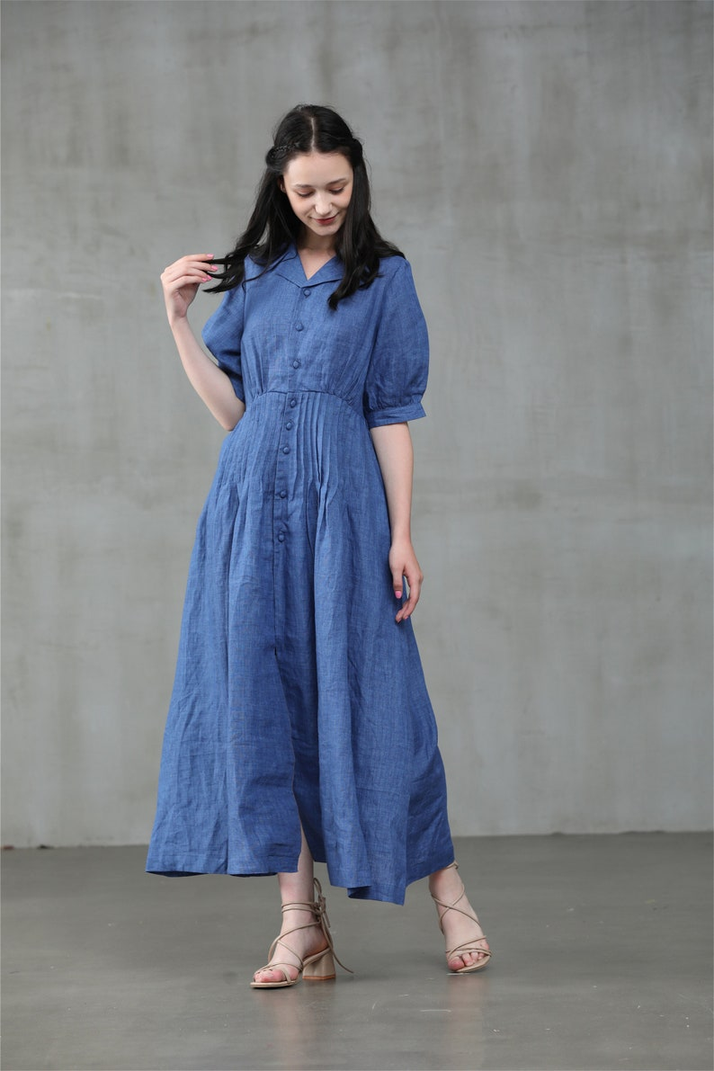 Cottagecore Dresses Aesthetic, Granny, Vintage linen shirt dress blue dress buttoned down dress midi linen dress | Linennaive $129.00 AT vintagedancer.com