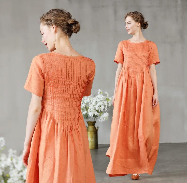 697f2c5fc388 Linen dress in orange pintuck dress maxi dress with pockets
