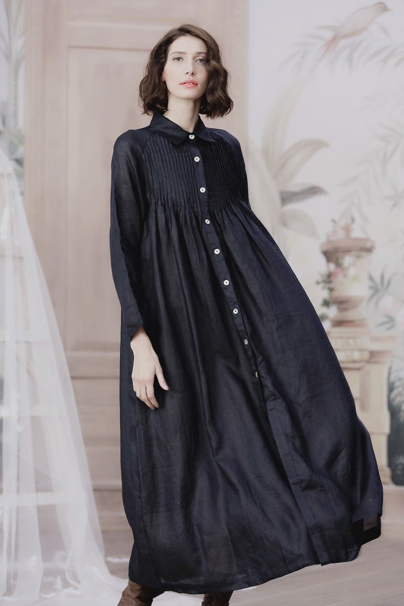 b2ea41b694 Button down linen dress navy blue dress maxi dress long
