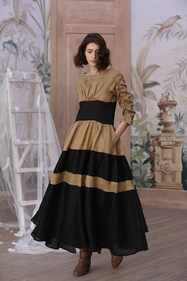 ca3232f4ee Gray linen dress black dress maxi dress striped dress plus