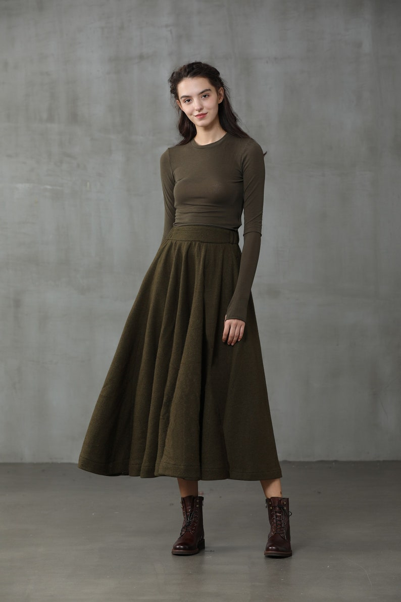 1900 -1910s Edwardian Fashion, Clothing & Costumes wool skirt olive winter wool skirt midi wool skirt black skirt party skirt winter warm skirt vintage skirt. long skirt | Linennaive $99.00 AT vintagedancer.com