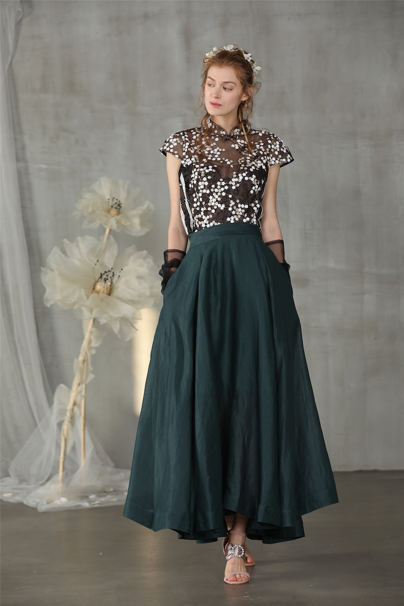 Victorian Clothing, Costumes & 1800s Fashion linen skirt maxi skirt teal green skirt wedding skirt bridal skirt full skirt long skirt flared skirt skater skirt | Linennaive $98.00 AT vintagedancer.com