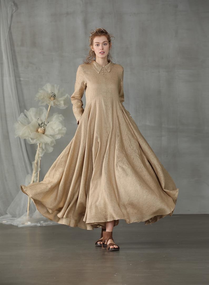 d2fe2c38d0 Shirt dress linen dress maxi dress macaroon dress fit and