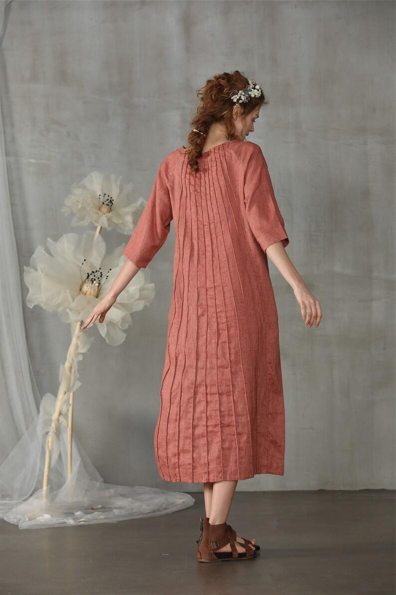 fall dress boho dress pintucked linen dress green dress midi dress Linennaive long dress