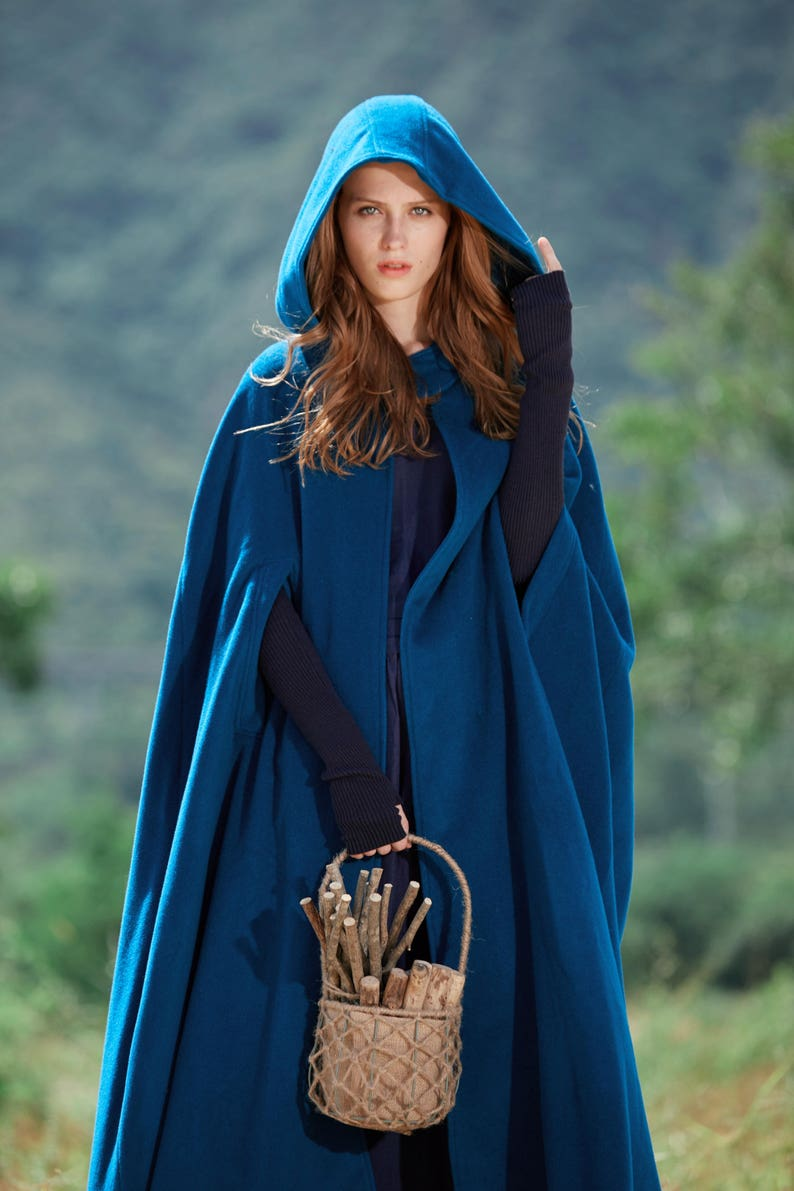 Maxi Hooded Wool Coat Cloak 100% Cashmere cape Maxi wool image 0
