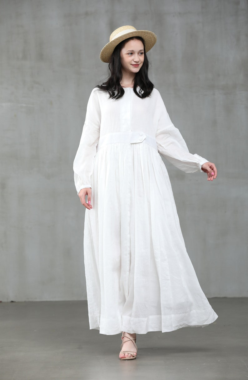 Cottagecore Dresses Aesthetic, Granny, Vintage white linen dress maxi linen dress maxi kaftan plus size dress loose fitting dress | Linennaive $159.00 AT vintagedancer.com