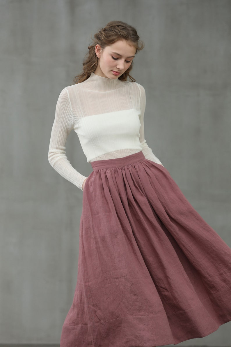 Cottagecore Clothing, Soft Aesthetic ashed lilac midi linen skirt a line skirt pleated flared skirt 1950 skirt | Linennaive $79.00 AT vintagedancer.com