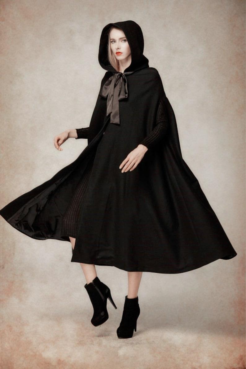 Black Wool Hooded Cape Maxi Hooded Cloak Winter Coat Jacket image 0