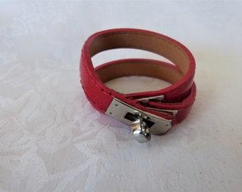 e368a0a0cc2f ... coupon for bracelet manchette femme cuir style hermes double tours cuir  rouge b75a6 ddb31 ...