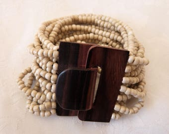 woman Cuff Bracelet, wood and beads