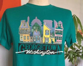 86dbbff5 Vintage Georgetown Washington DC Teal T-Shirt 1980s Hanes Fifty-Fifty 50/50  Large Tee 80s Soft and Thin Graphic