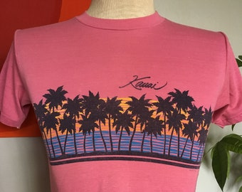 bf603ea1 Vintage Kauai Hawaii T-Shirt 1980s Hanes 50/50 Medium Tee 80s Pink Travel  Summer Beach