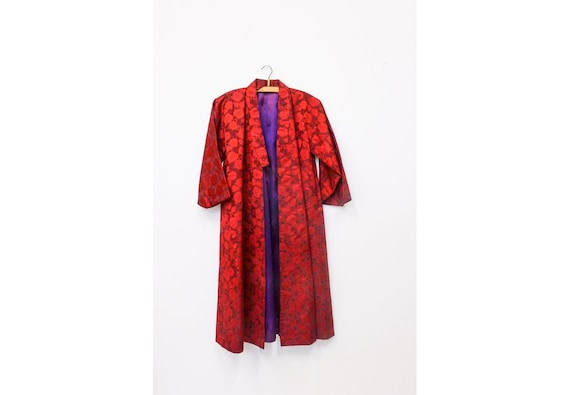 vintage red kimono, red gown, vintage robe