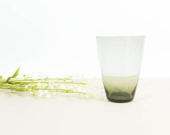 Small vintage smoked glass vase, grey glass vase