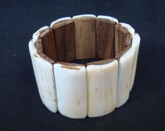 Vintage extensible bracelet Mahogany wood and mother of pearl shell Rare find