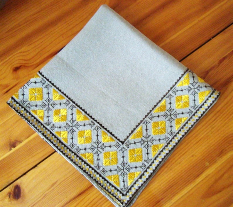 Tablecloth Bulgarian embroidery Table runner Flax panama tablecloth Yellow and brown silk embroidery