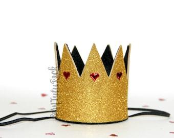 Queen of Hearts Crown // Alice in Wonderland Crown // Gold Crown // Crown Headband // by Born TuTu Rock