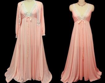 0250c3501a Vintage Olga Peignoir   Nightgown Set Peaches N Cream spandex nightgown  rare peignoir set pink peignoir set pink nightgown pink peignoir set