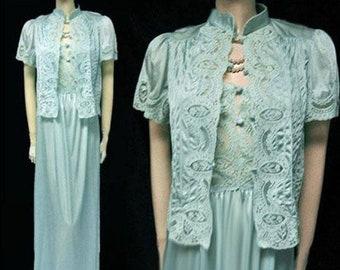 Vintage Lily of France Rosa Puleo-Szule Lace Ocean Breeze Peignoir and Nightgown  Set blue peignoir set lace blue nightgown lace 32d8ce01c